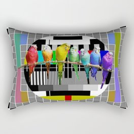 Testing the Rainbow Budgies Rectangular Pillow
