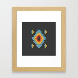 Santa Fe Southwestern Native Navajo Indian Tribal Geometric Pattern Framed Art Print