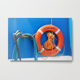 Life buoy hanging on a boat. Metal Print