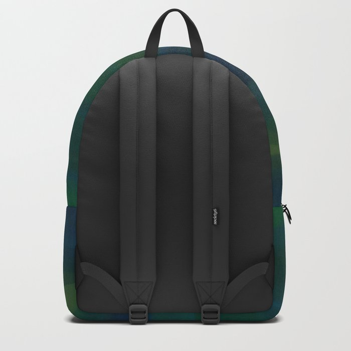 Navy, Peacock Green Abstract Backpack