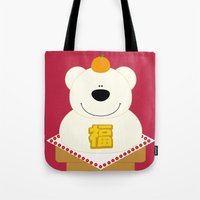 japanese Tote Bags featuring JAPANESE by SANTA
