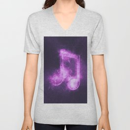 Beamed Eight music note symbol. Abstract night sky background Unisex V-Neck
