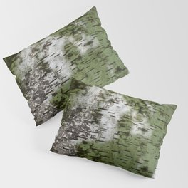 Birch Bark Pattern Green and White Wood Pattern Bring the Outdoors In Pillow Sham