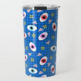 Hungry - eyes retro grid throwback 1980s minimal modern pattern print wacko designs neon Travel Mug