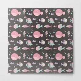 Modern hand painted pink teal lavender nautical fishes Metal Print