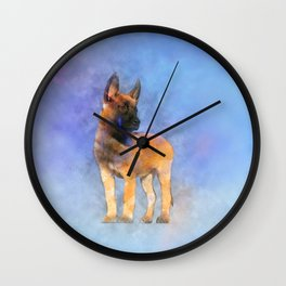 Belgian Malinois Puppy Painting - Mechelaar Wall Clock