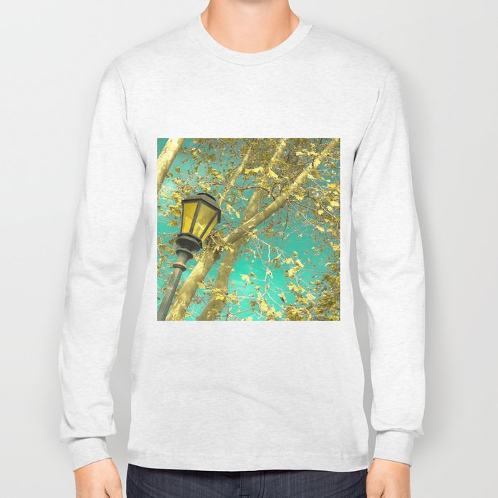 Autumn Gold Leafs in Turquoise Sky  Long Sleeve T-shirt