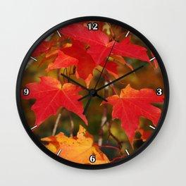 Fiery Autumn Maple Leaves 4966 Wall Clock