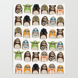 Science Fiction Sloths Poster