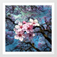 cherry blossoms Art Prints featuring Cherry Blossoms by Just Kidding