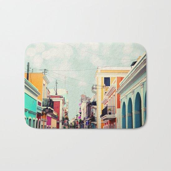 Colorful Buildings of Old San Juan, Puerto Rico Bath Mat