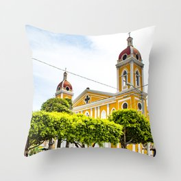 View of Granada Cathedral at the Center of Parque Central De Granada in Nicaragua Throw Pillow
