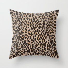 Animal Print, Spotted Leopard - Brown Black Throw Pillow