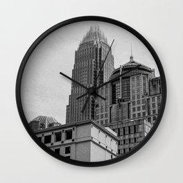 Downtown Charlotte B&W  Wall Clock