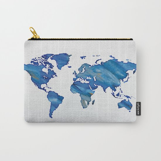 Blue World Map 01 Carry-All Pouch