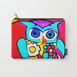 Colorful Floral Print Owl & Red Sky Carry-All Pouch
