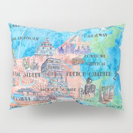 New Orleans Louisiana Illustrated Map with Main Roads Landmarks and Highlights Pillow Sham