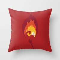 phoenix Throw Pillows featuring Phoenix by Picomodi