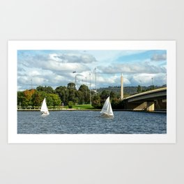 Sailing on Lake Burley Griffin, Canberra Art Print