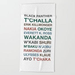 Black Panther Character Names Beach Towel