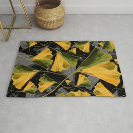 Yellow Ginkgo Leaves on Black Rug