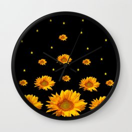 GOLDEN STARS YELLOW SUNFLOWERS  BLACK COLOR Wall Clock
