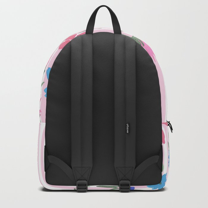 Floral Spring and Stripes Pink Backpack