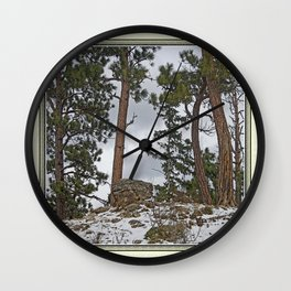 PINES ON ROCKY SNOW Wall Clock