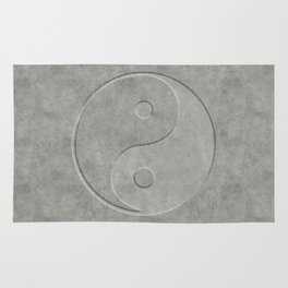 Yin and Yang Symbol embossed  concrete stone Rug