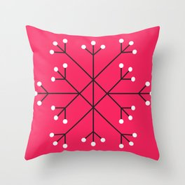 Mod Snowflake Hot Pink Throw Pillow