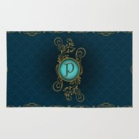 letter Area & Throw Rugs featuring Letter P by Britta Glodde