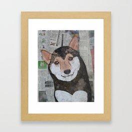 Shiba Inu - Paper, Scissors, Glue Framed Art Print