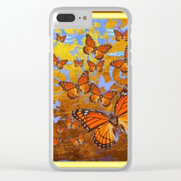 Caramel Color Monarch Butterflies Butterflies  Fantasy Abstract Clear iPhone Case