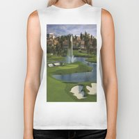 golf Biker Tanks featuring GOLF COURSE by aztosaha