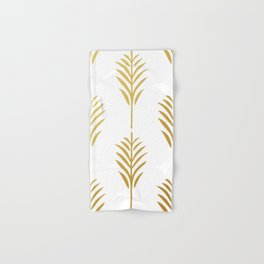 Golden Palm Leaves on White Hand & Bath Towel