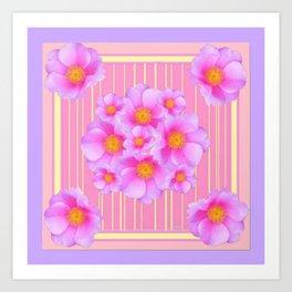 Decorative Wild Pink Roses Yellow Pattern Art Print