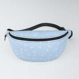 Preppy Blue Dots and Triangles Pattern Fanny Pack