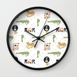 Dangerous Animals Pattern Wall Clock