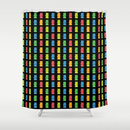 Rainbow Gummy Bears Pattern on Black Background Shower Curtain