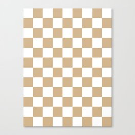 Checkered - White and Tan Brown Canvas Print