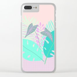 Modern tropical leaves print with monstera Clear iPhone Case