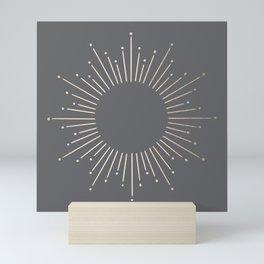 Simply Sunburst in White Gold Sands on Storm Gray Mini Art Print