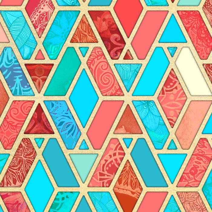 Melon and Aqua Geometric Tile Pattern Leggings