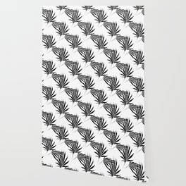 Palmetto Fronds Leaf Pattern Black and White Wallpaper