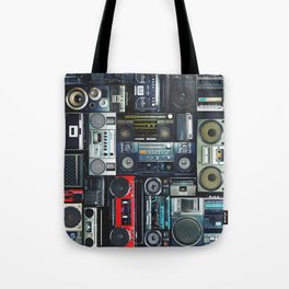 Vintage wall full of radio boombox of the 80s Tote Bag
