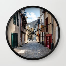Street in historic centre of Rennes Wall Clock