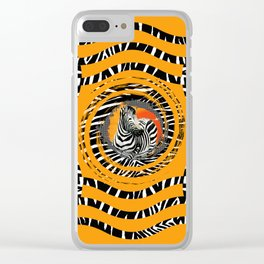 Zebra Tribal Sunset Clear iPhone Case