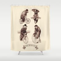 bears Shower Curtains featuring Bears on Bicycles by Eric Fan