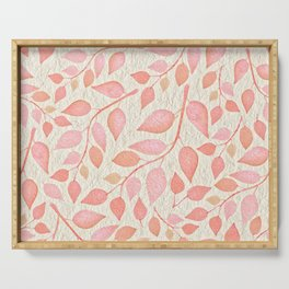 Coral Pink Leaves On Gold Serving Tray