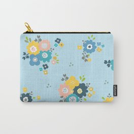 Romantic flowers in light blue background Carry-All Pouch